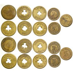 NINE ASSORTED LAFAYETTE HALL & SALOON TOKENS