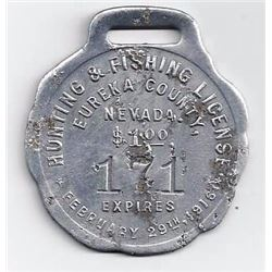 1915 Eureka Metal Hunting & Fishing License