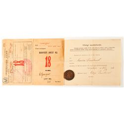 Lusitania Immigrant Inspection Card and Token