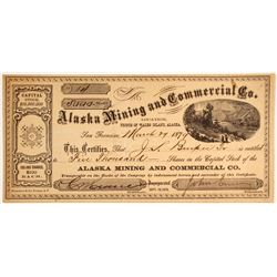 1872 Alaska Mining Stock: Alaska Mining and Commercial Company Stock