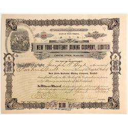 New York-Kootenay Mining Company,. Limited, Stock