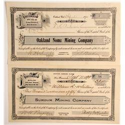 Bay Area Alaska Mining Stocks: Oakland Nome  and  Sumdum (2)