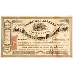 Henry & Barnard Gold, Silver and Copper Mining Company Stock
