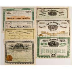 Seven Arizona Mining Stock Certificates