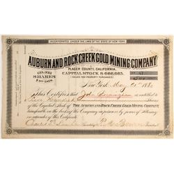 Auburn and Rock Creek Mining Company Stock, Placer County