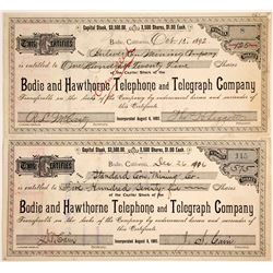 Bodie and Hawthorne Telephone and Telegraph Co. Stock Certificate issued to Bodie Mines
