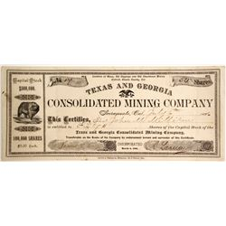 Texas and Georgia Consolidated Mining Company Stock, Chinatown Mining District, Shasta County