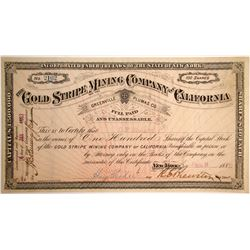 Gold Stripe Mining Company of California, Greenville, Plumas County