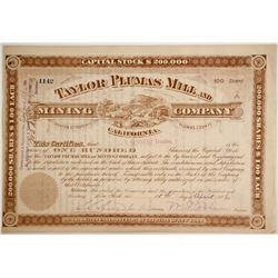 Taylor Plumas Mill & Mining Company Stock, Taylor, Plumas County