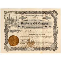 Broadway Oil Co. Stock, Kern River, Signed by  W.E. Knowles, Noted Oakland Businessman
