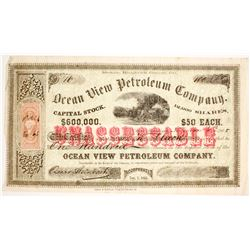 VERY EARLY, VERY RARE Ocean View PETROLEUM Company Stock