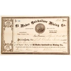 El Madre Quicksilver Mining Co. Stock Certificate, Napa, Cal. 1875