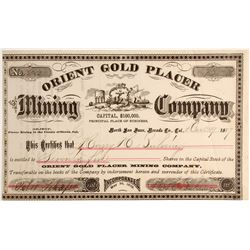 Orient Gold Placer Mining Company Stock, North San Juan, Nevada County