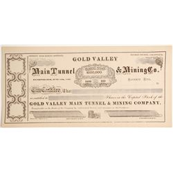 Gold Valley Main Tunnel & Mining Company Stock, Poverty Hill Mining District, Plumas County