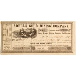 Adella Gold Mining Company Stock, Rock Creek, Sierra County