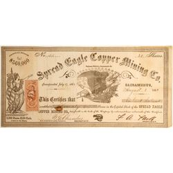 Spread Eagle Copper Mining Company Stock, Saginaw District, Sacramento County