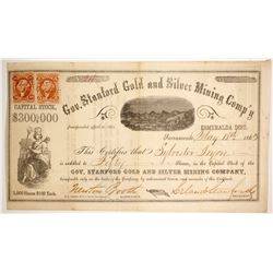 Gov. Stanford Gold and Silver Mining Comp'y Stock signed by Stanford as President