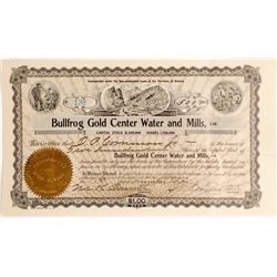 Bullfrog Gold Center Water & Mills Stock Certificate