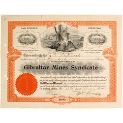 Gibraltar Mines Syndicate Stock Certificate