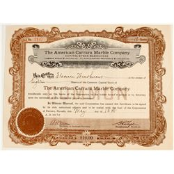 American Carrara Marble Company Stock Certificate