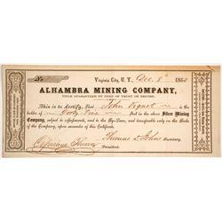 Alhambra Mining Company Stock - Datelined 1860 Carson County, Utah Territory