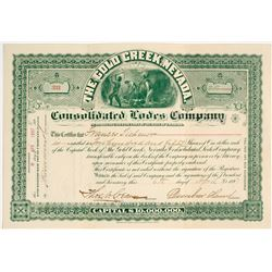 Gold Creek, Nevada Consolidated Lodes Mining Stock Certificate (NV. Ghost Town)