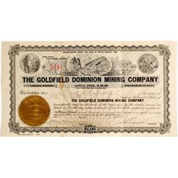 Goldfield Dominion Mining Stock Certificate, Signed by Sol Camp