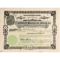 Goldfield Simmerone Mining Stock Certificate Signed by Malcolm Macdonald