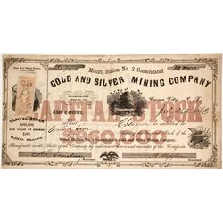 Mount Bullion No. 2 Consolidated Gold and Silver Mining Company Stock
