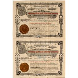 Set of 2 Bullfrog Pedestal Mining Stocks, Mines at Bullfrog Certificates