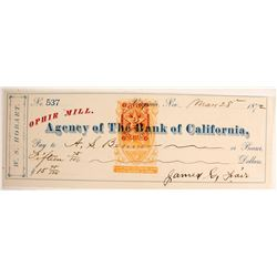 Rare Virginia City, Nevada Mining Check Sig. by James Fair w/Red Nevada Revenue Stamp