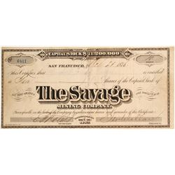 Savage Mining Company 1876 Stock