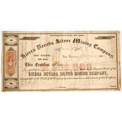 Sierra Nevada Silver Mining Company Stock