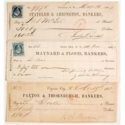 Three Territorial Comstock Checks, Virginia City & Gold Hill