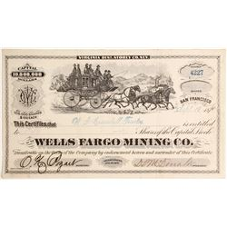Wells Fargo Mining Company Stock, Virginia Mining District, Storey County - ULTRA COLLECTABLE