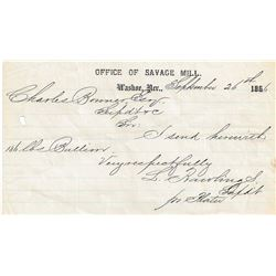September 26, 1866: Mill Receipts to the Savage Mine from the Savage Mill and Atchison Mill