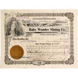 Ruby Wonder Mining Company Stock Certificate