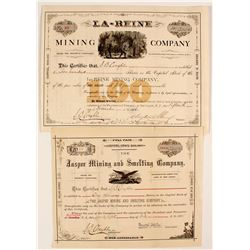 New Jersey Issued Stocks: Jasper (Missouri)  and La-Reine (Tintic)