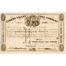 1833 Version of Lykens Valley Coal Company Stock:  Very old and NUMBER 1