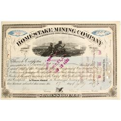 Homestake Mining Company Stock Certificate, Signed by Lloyd Tevis