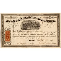 1860's New York & Utah Prospecting and Mining Company Stock