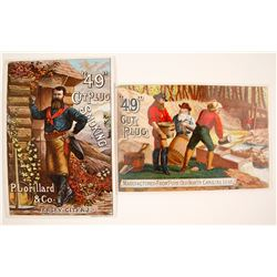 49er Tobacco Advertising Cards, 2 Different