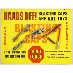 Blasting Cap Warning Sign with Caps