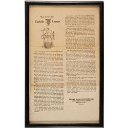 Framed Dewar Carbide Lamp Lighting Instructions