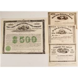 One Coal Company Bond and Three Unissued Coal Company Stock Certificates