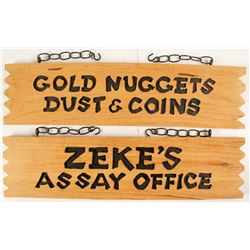 Zeke's Assay Office Wood Sign and Large Zeke Doll
