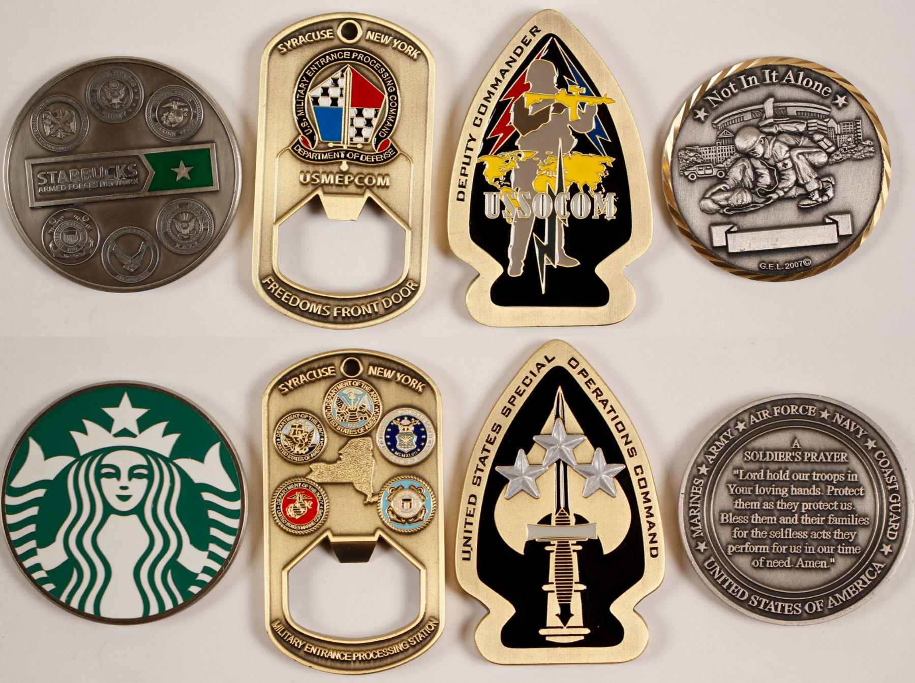 Four US Interagency Challenge Coins - Various Designs