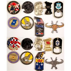 Nine US ARMY Challenge Coins - Various Designs