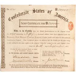 Confederate States of America Scrip Certificate