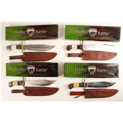 Set of Four Timber Rattler Bowie Knives